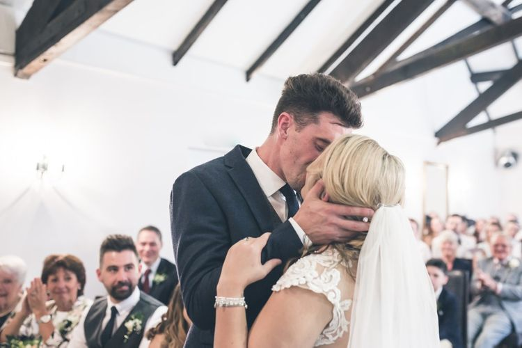 Wedding Ceremony | Bride in Lace The Signature Collection Bridal Gown from Wed2b | Groom in Limehaus Suit | Classic Wedding at The Mytton & Mermaid, Atcham | Willo Photography
