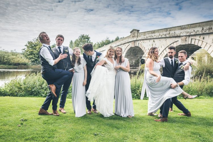 Wedding Party | Bride in Lace The Signature Collection Bridal Gown from Wed2b | Bridesmaids in Grey Marks and Spencer Dresses | Groomsmen in Limehaus Suit | Classic Wedding at The Mytton & Mermaid, Atcham | Willo Photography