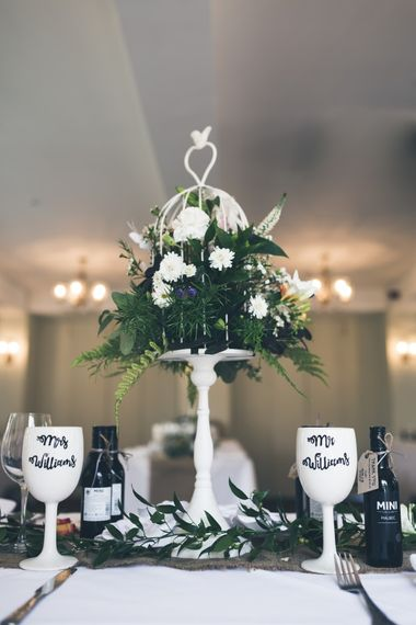 Birdcage Centrepiece | Personalised Goblet Wedding Favours | Classic Wedding at The Mytton & Mermaid, Atcham | Willo Photography