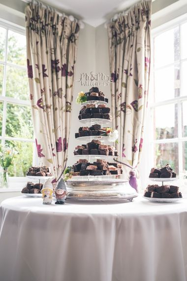 Brownie Tower Wedding Cake | Classic Wedding at The Mytton & Mermaid, Atcham | Willo Photography