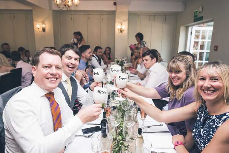 Wedding Guests with Personalised Goblet Wedding Favours | Classic Wedding at The Mytton & Mermaid, Atcham | Willo Photography