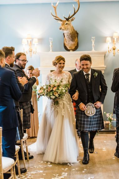 Wedding Ceremony At Kinross House // Rainy Tipi Wedding At The Coach House at Kinross House Scotland With Bride In Embellished Bespoke Dress And Images From Photos By Zoe