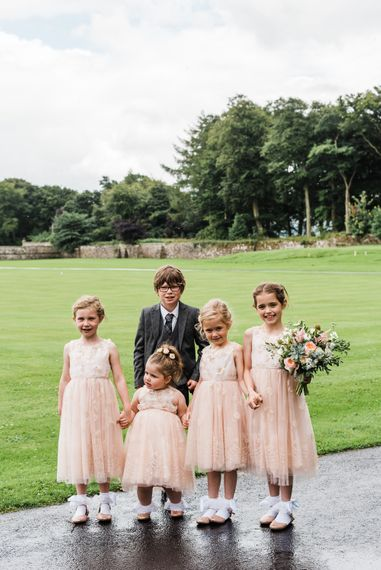 Flower Girls & Page Boy In Peach And Navy // Rainy Tipi Wedding At The Coach House at Kinross House Scotland With Bride In Embellished Bespoke Dress And Images From Photos By Zoe