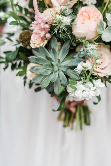 Pink & White Wedding Bouquet With Succulents // Rainy Tipi Wedding At The Coach House at Kinross House Scotland With Bride In Embellished Bespoke Dress And Images From Photos By Zoe