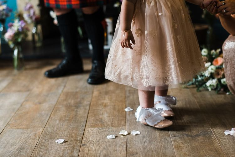 Flower Girls In Peach Dresses // Rainy Tipi Wedding At The Coach House at Kinross House Scotland With Bride In Embellished Bespoke Dress And Images From Photos By Zoe