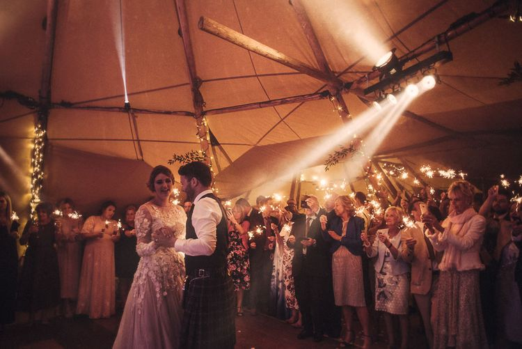 Rainy Tipi Wedding At The Coach House at Kinross House Scotland With Bride In Embellished Bespoke Dress And Images From Photos By Zoe