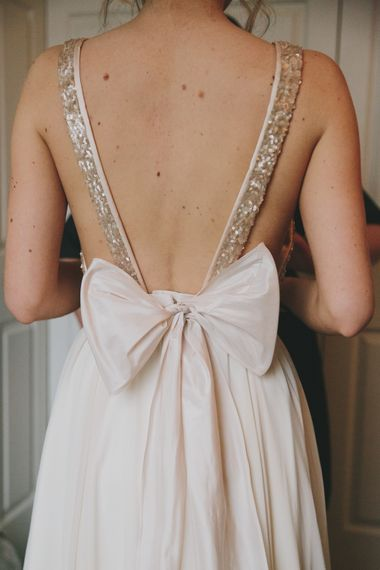 Open Backed Wedding Dress With Bow