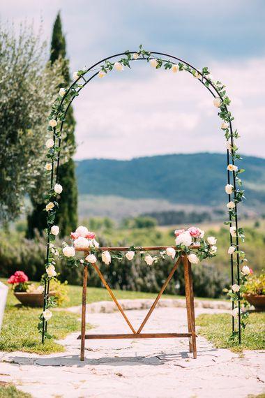 Floral Arch Outdoor Wedding Altar | Destination Wedding at Casa Cornacchi in Italy | Albert Palmer Photography