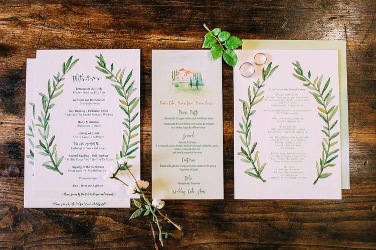 Greenery Wedding Stationery | Destination Wedding at Casa Cornacchi in Italy | Albert Palmer Photography