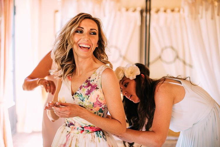 Getting Ready | Bride in Charlotte Balbier Untamed Love Floral Wedding Dress | Destination Wedding at Casa Cornacchi in Italy | Albert Palmer Photography