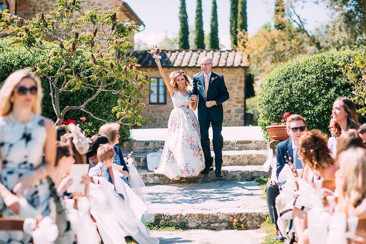 Bridal Entrance | Outdoor Wedding Ceremony | Destination Wedding at Casa Cornacchi in Italy | Albert Palmer Photography
