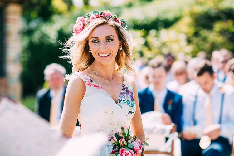 Bride in Charlotte Balbier Untamed Love Floral Wedding Dress | Destination Wedding at Casa Cornacchi in Italy | Albert Palmer Photography