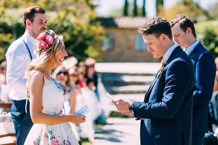 Outdoor Wedding Ceremony | Bride in Charlotte Balbier Untamed Love Floral Wedding Dress | Groom in Navy Ted Baker Suit | Destination Wedding at Casa Cornacchi in Italy | Albert Palmer Photography