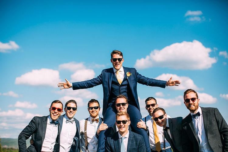Groomsmen in Ted Baker Suits | Destination Wedding at Casa Cornacchi in Italy | Albert Palmer Photography