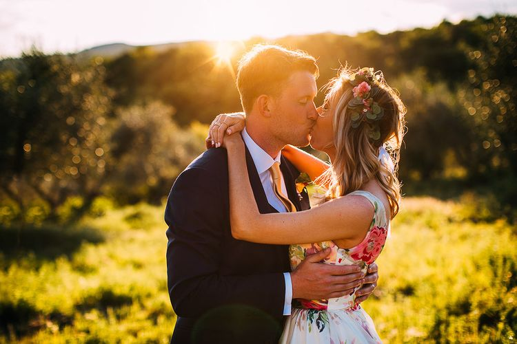 Sunset | Bride in Charlotte Balbier Untamed Love Floral Wedding Dress | Groom in Navy Ted Baker Suit | Destination Wedding at Casa Cornacchi in Italy | Albert Palmer Photography