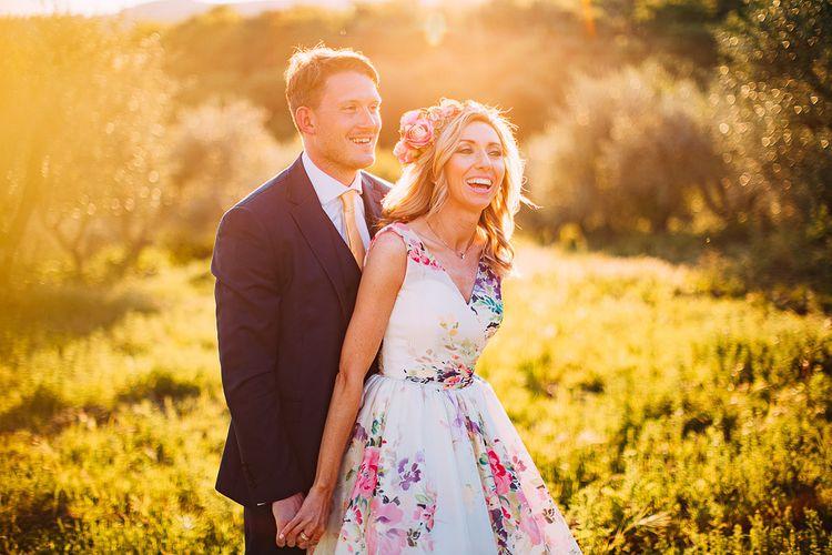 Golden Hour | Bride in Charlotte Balbier Untamed Love Floral Wedding Dress | Groom in Navy Ted Baker Suit | Destination Wedding at Casa Cornacchi in Italy | Albert Palmer Photography