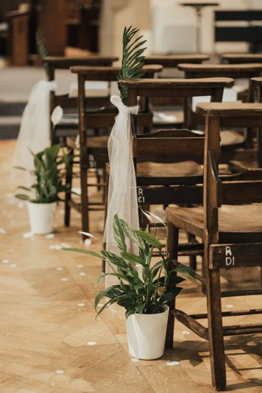 Young & Vibrant Wedding At Wylam Brewery With Bridesmaids In Metallic Satin Jumpsuits & A Tropical Palm Print Theme With Images From Nataly J
