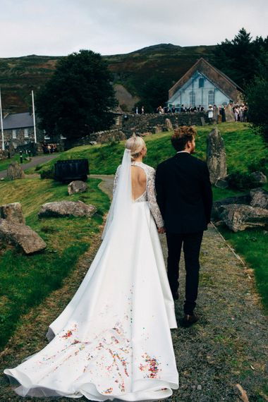 Long train on Emma Beaumont Wedding Dress