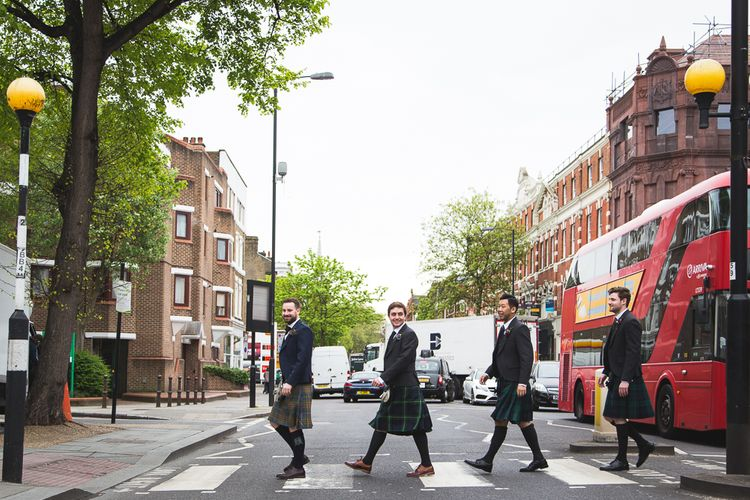 Halfpenny London Bride For An Intimate Wedding At Perseverance Works Shoreditch With Groom & Groomsmen In Kilts And Images From Adam Cherry Photography