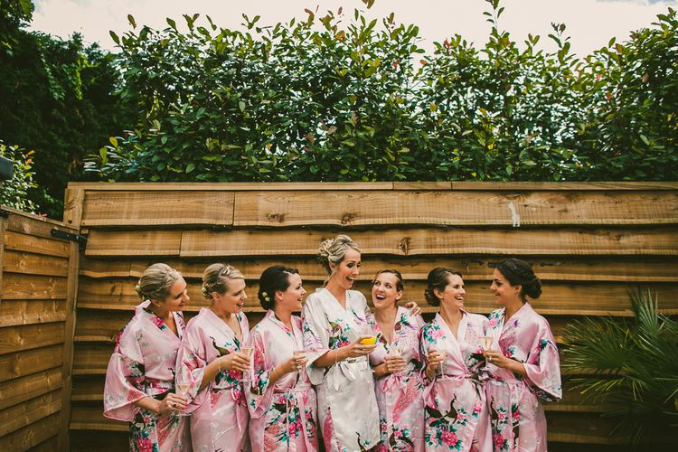 Bridal Party in Getting Ready Robes | Nautical At Home Marquee Wedding by 81 Events | RS Brown Photography