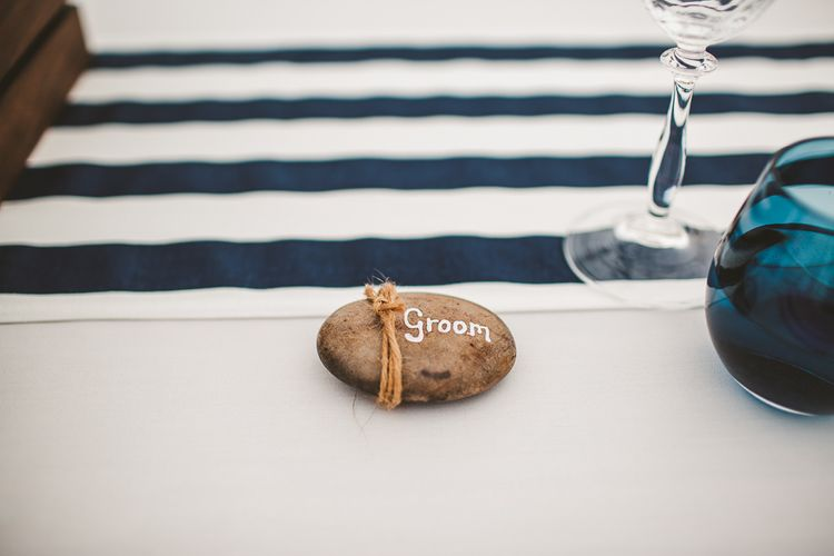 Stone Name Place Setting | Nautical At Home Marquee Wedding by 81 Events | RS Brown Photography