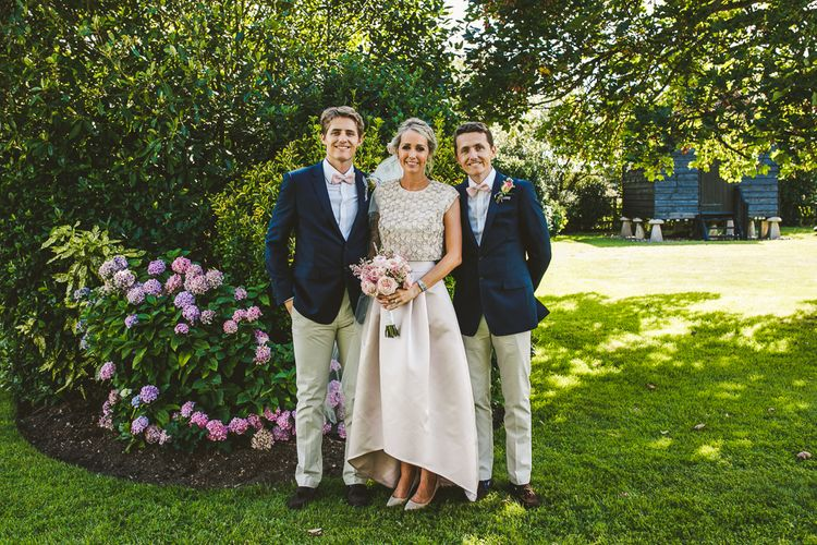Bride in Separates from Suzannah | Groomsmen Marks and Spencer Chinos and Blazers | Nautical At Home Marquee Wedding by 81 Events | RS Brown Photography