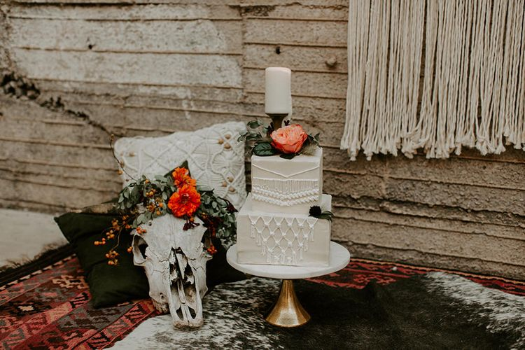 Industrial Bohemian Chic Inspiration by Simple Means Events | Rich Autumnal Flowers & Macrame Wall Hanging Decor | Erika Greene Photography
