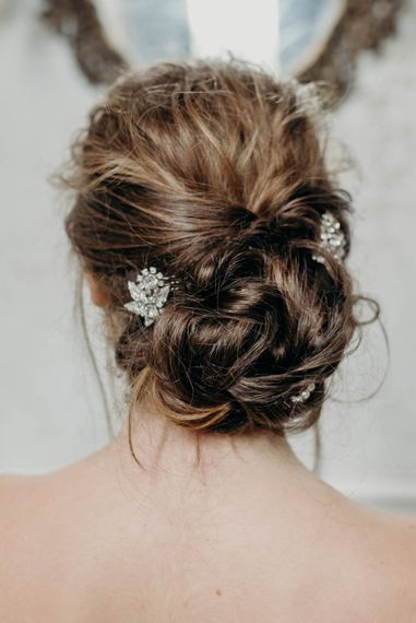 Bridal Up Do with The Lucky Sixpence Accessory | Clare Kinchin Photography
