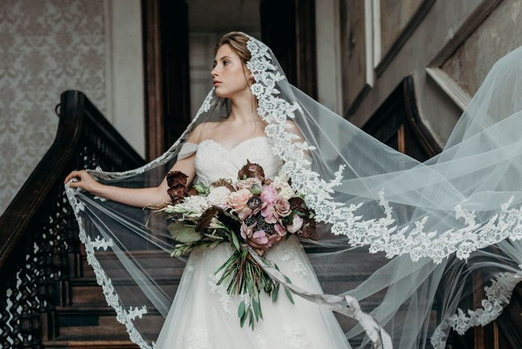 Bride in Gown & Veil from Te Amo Brides | Clare Kinchin Photography