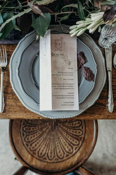 Menu Place Setting | Rustic Tablescape with Blush Floral Decor | Clare Kinchin Photography