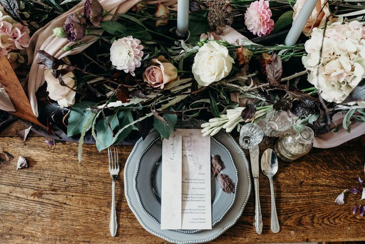 Place Setting | Rustic Tablescape with Blush Floral Decor | Clare Kinchin Photography