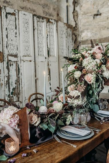 Rustic Tablescape with Blush Floral Decor | Clare Kinchin Photography