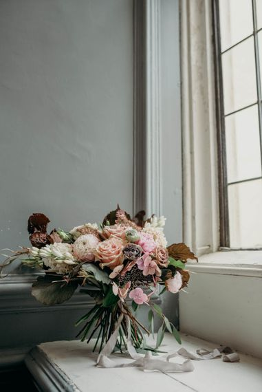 Blush Bridal Bouquet | Industrial Luxe Inspiration | Clare Kinchin Photography