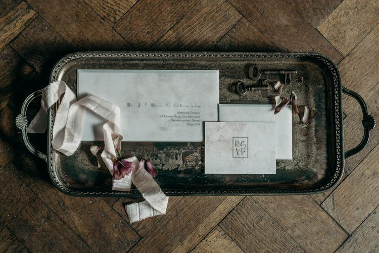 Wedding Stationery | Industrial Luxe Inspiration | Clare Kinchin Photography