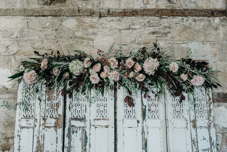 Floral Adorned Screen | Industrial Luxe Inspiration | Clare Kinchin Photography