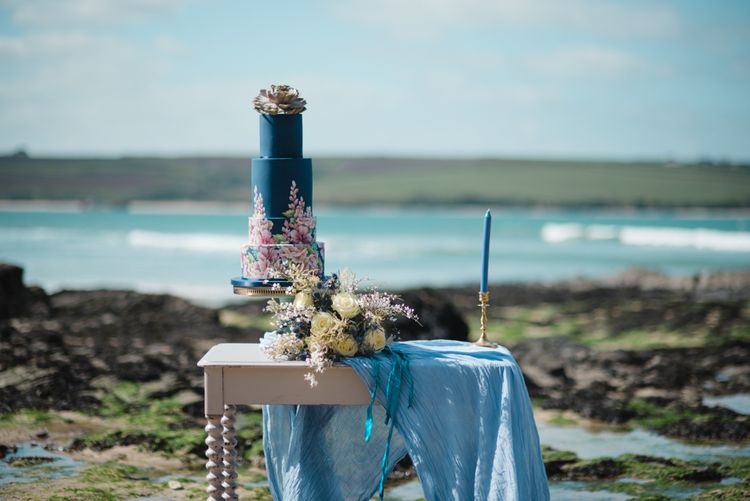 Blue Floral Painted Wedding Cake