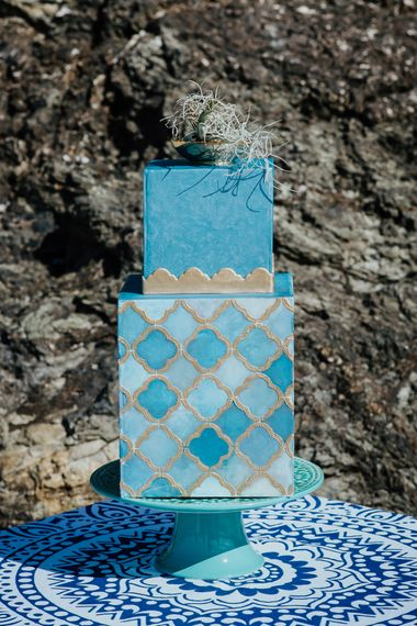 Blue & Gold Geometric Painted Cake
