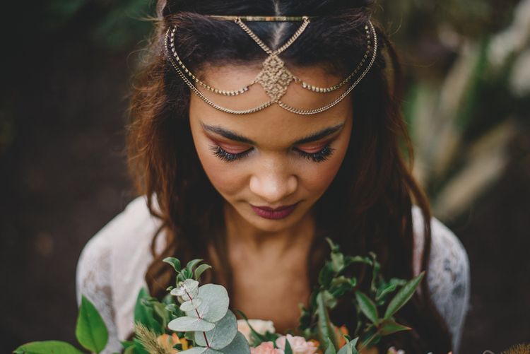 Bridal Headdress | Woodland Inspiration at Upthorpe Wood in Suffolk | Hippie Festival Vibes | Boho Bride in Lace Gown | Autumnal Flowers & Pampas Grass | Georgia Rachael Photography