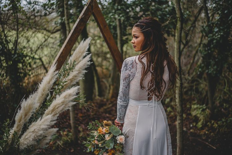GRP_0048Woodland Inspiration at Upthorpe Wood in Suffolk | Hippie Festival Vibes | Boho Bride in Lace Gown | Autumnal Flowers & Pampas Grass | Georgia Rachael Photography