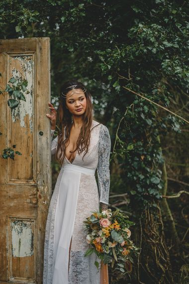 Woodland Inspiration at Upthorpe Wood in Suffolk | Hippie Festival Vibes | Boho Bride in Lace Gown | Autumnal Flowers & Pampas Grass | Georgia Rachael Photography