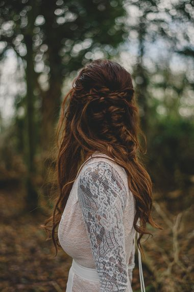 Bridal Braid| Woodland Inspiration at Upthorpe Wood in Suffolk | Hippie Festival Vibes | Boho Bride in Lace Gown | Autumnal Flowers & Pampas Grass | Georgia Rachael Photography