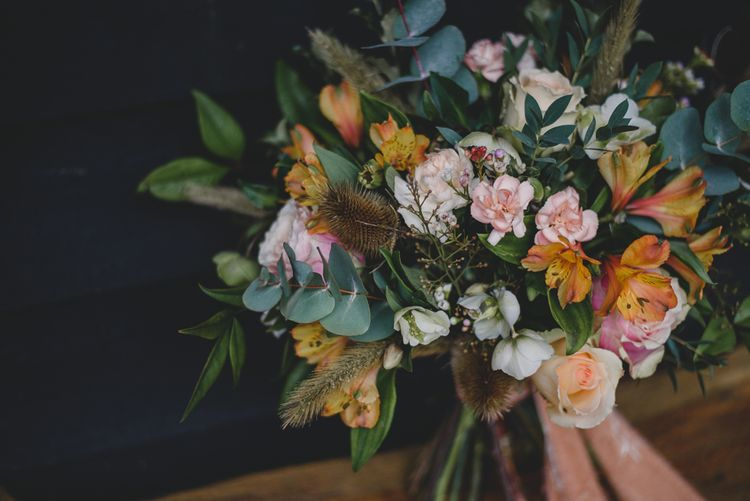 Peach & Greenery Bouquet | Woodland Inspiration at Upthorpe Wood in Suffolk | Hippie Festival Vibes | Boho Bride in Lace Gown | Autumnal Flowers & Pampas Grass | Georgia Rachael Photography