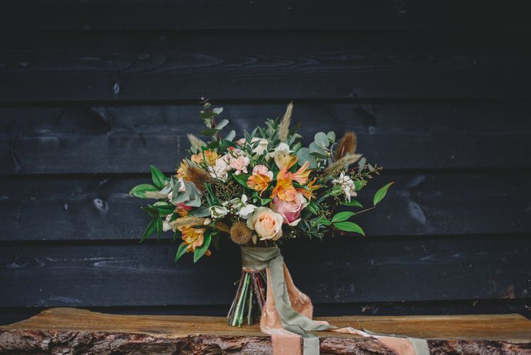 Peach & Greenery Bouquet with Ribbon | Woodland Inspiration at Upthorpe Wood in Suffolk | Hippie Festival Vibes | Boho Bride in Lace Gown | Autumnal Flowers & Pampas Grass | Georgia Rachael Photography