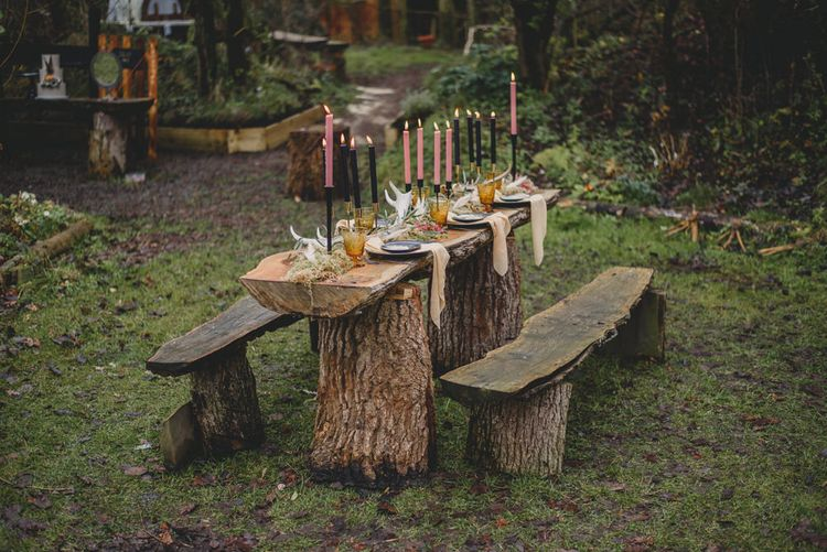 Taper Candle Tablescape | Woodland Inspiration at Upthorpe Wood in Suffolk | Hippie Festival Vibes | Boho Bride in Lace Gown | Autumnal Flowers & Pampas Grass | Georgia Rachael Photography