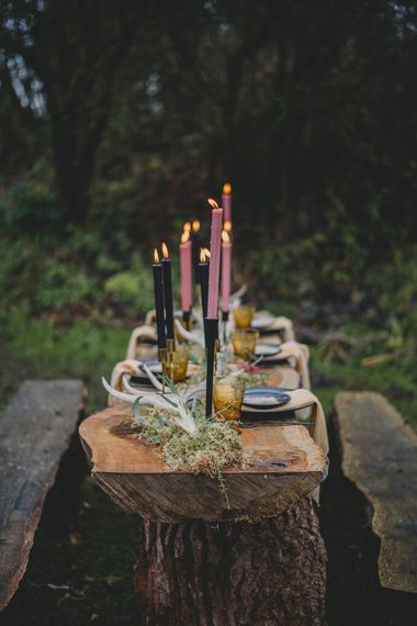 Taper Candle Decor Tablescape | Woodland Inspiration at Upthorpe Wood in Suffolk | Hippie Festival Vibes | Boho Bride in Lace Gown | Autumnal Flowers & Pampas Grass | Georgia Rachael Photography