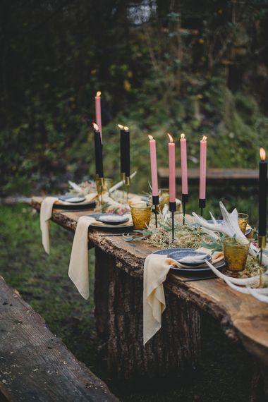 Taper Candle Decor | Woodland Inspiration at Upthorpe Wood in Suffolk | Hippie Festival Vibes | Boho Bride in Lace Gown | Autumnal Flowers & Pampas Grass | Georgia Rachael Photography