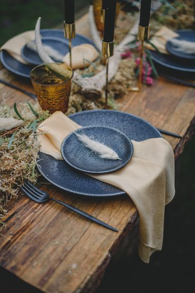 Place Setting with Pampas Grass | Woodland Inspiration at Upthorpe Wood in Suffolk | Hippie Festival Vibes | Boho Bride in Lace Gown | Autumnal Flowers & Pampas Grass | Georgia Rachael Photography