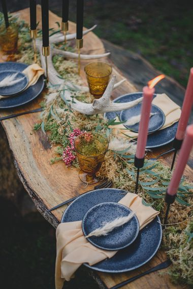 Rustic Wedding Table Decor | Woodland Inspiration at Upthorpe Wood in Suffolk | Hippie Festival Vibes | Boho Bride in Lace Gown | Autumnal Flowers & Pampas Grass | Georgia Rachael Photography