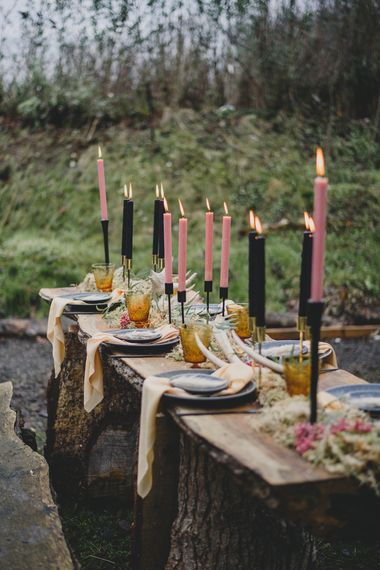 Taper Candles Boho Tablescape | Woodland Inspiration at Upthorpe Wood in Suffolk | Hippie Festival Vibes | Boho Bride in Lace Gown | Autumnal Flowers & Pampas Grass | Georgia Rachael Photography