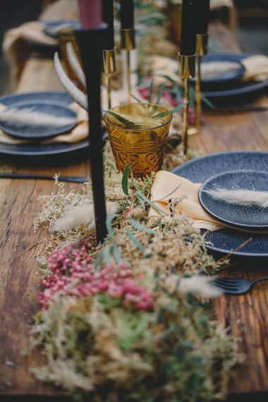Wedding Table Decor | Woodland Inspiration at Upthorpe Wood in Suffolk | Hippie Festival Vibes | Boho Bride in Lace Gown | Autumnal Flowers & Pampas Grass | Georgia Rachael Photography